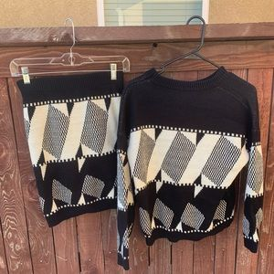 💄Final Prive💄 2 piece sweater skirt black white